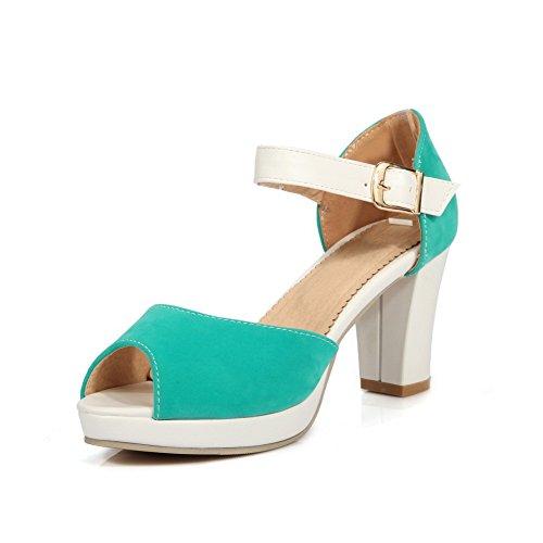 AgooLar Women's High Heels Solid Buckle Peep Toe Sandals Green