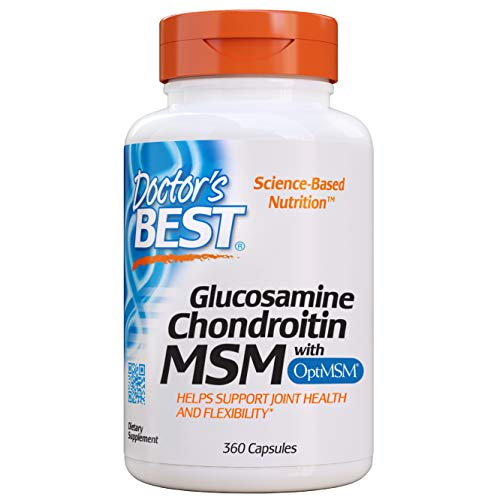 Doctor's Best Glucosamine Chondroitin MSM with OptiMSM, Joint Support, Non-GMO, Gluten Free, Soy Free, 360 Caps