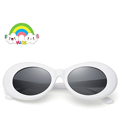 Sunglasses for kids,FOURCHEN Bold Retro Oval Mod Thick Frame Sunglasses Round Lens Clout Goggles 100% UV Proof Sunglasses for girls/boys, Toddler Sunglasses, Kids Sunglasses
