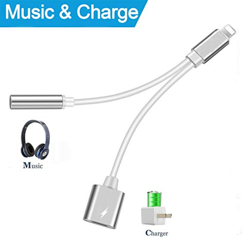 Price comparison product image Headphone Jack Adapter Compatible for iPhone 2 in 1 Earphone Dual Connector Audio 3.5mm Charger Aux Adaptor Cable Replacement Splitter for iPhone 7 / 7 Plus 8 / 8 Plus / X 10 Supports iOS 11 - Silver