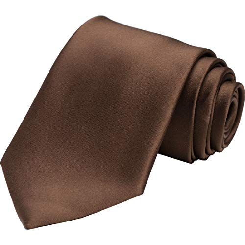 KissTies Mens Truffle Brown Tie Solid Satin Necktie + Gift - For Express Suit Men