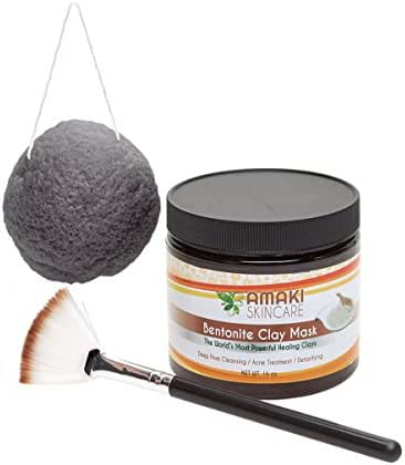 Amaki Bentonite Clay Mud Mask included Konjac Sponge with Activated Bamboo Charcoal and Applicator Brush - Adult Acne Treatment and Blackhead Remover that Unclogs and Minimizes Pores