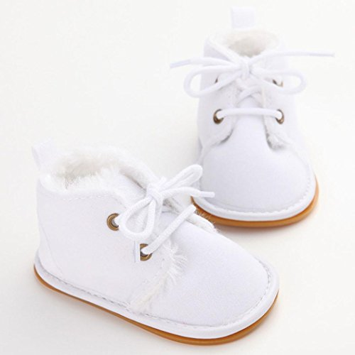 BZLine Baby-Kleinkind-Säuglingsschnee-Aufladungs-Schuhe Prewalker Sneaker Schuhe Weiß