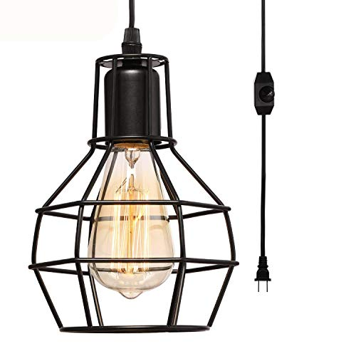 Creatgeek Plug-in Pendant Light with 16 Cord and On Off Dimmer Switch, Industrial Rustic Hanging Ceiling Lamps, Perfect Lighting Fixture for Kitchen Island Dining Room Living Room, Black Finish