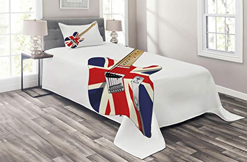 Ambesonne Union Jack Coverlet, Classical Electric Guitar UK Flag Britain Music Instrument, 2 Piece Decorative Quilted Bedspread Set with 1 Pillow Sham, Twin Size, Pale Brown Grey Black (Grey And Black Union Jack Bedding Sets)