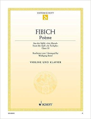 Poème Op 39 Violon Amazoncouk Zdenek Fibich