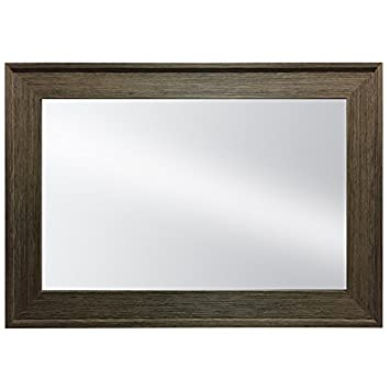 Hanging Framed Wall Mounted Mirror By Raphael Rozen Classic, Elegant Rectangular, Distressed Wood Finish Brushed Olive Colored Frame Perfect For Bathrooms and Interior Living Spaces
