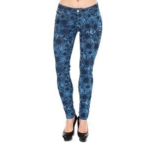 VIRGIN ONLY Women's Sun Flower Printed Skinny Jeans