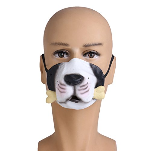 Punk Devil Girl Costume (EA-STONE Novelty Latex Rubber Creepy Halloween Costume Party Grimace Half Face Mask -Dog bone)