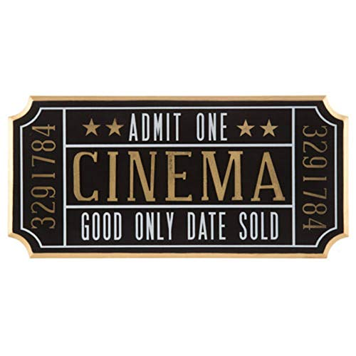 (K&N41 Indoor Décor Cinema Ticket Wall Sign Theater Media Plaque Room Movie Night Wall Art Home Decor)