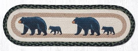 8.25''X27'' Black/Sage/Cream Oval Printed Mama Bear Stair Tread, Set of 13 by Heart of America