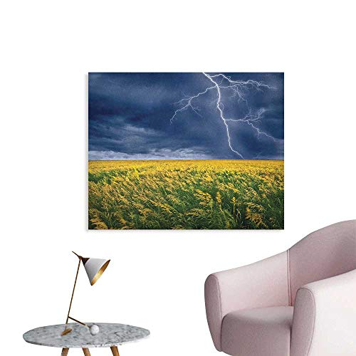 Anzhutwelve Nature Wall Picture Decoration Thunder Bolt Above The Seasonal Field Electric Vibes Mother Nature Theme Image Art Poster Yellow Blue W28 xL20
