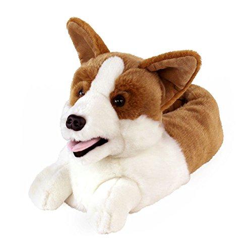 AnimalSlippers.com Corgi Slippers - Plush Dog Animal Slippers, White and Tan