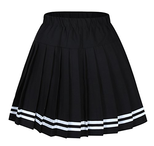 Genetic Girl's Double Layer Elasticated Pleat Skirt (M, Black White Stripes) (Korean Uniform School)
