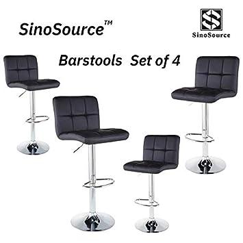 Bar Stools Barstools Set of 4 Kitchen Stools Height Adjustable PU Leather Swivel Stools Bar Chairs Black