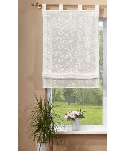Transparentes Raffrollo aus Jacquard, luftiger Voile im eleganten Design, 175x60, Creme, 610009