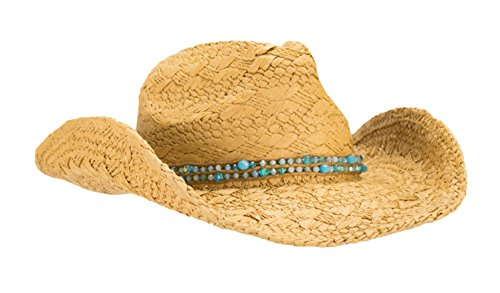 (HatQuarters Unique Hand Woven Straw Cowgirl Hat, Shapeable Cowboy Hat, Beaded Hatband with Tie (Natural/Teal)