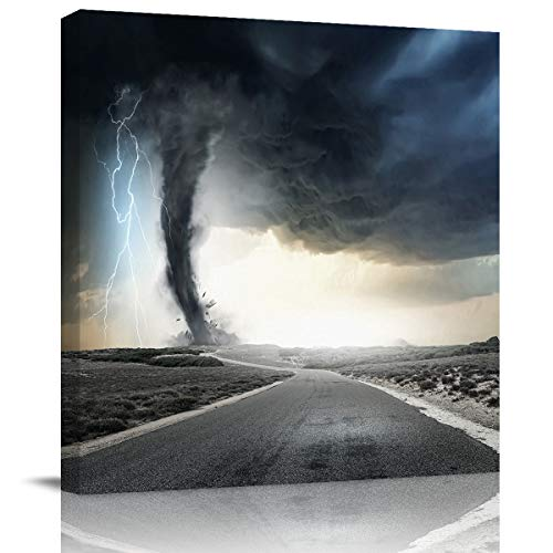 DCGARING Modern Giclee Canvas Prints Stretched Artwork Lightning and Tornado Pictures Paintings on Canvas Wall Art for Home Office Decorations Wall Decor 16x16in