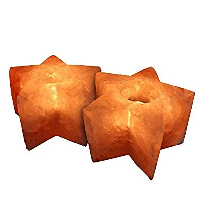 Crystal Allies Gallery: CA SCH-STAR-2pc Pack of 2 Natural Himalayan Salt Tea Light Candle Holder w/ Authentic Crystal Allies Info Card
