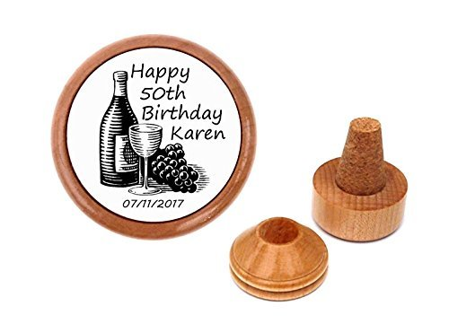 Personalized 50th birthday gift present wine stopper and cork holder.