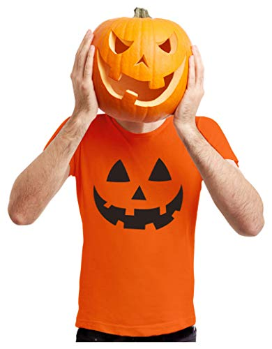 Easy Man Halloween Costume (Jack O' Lantern - Smiling Pumpkin Face - Easy Halloween Costume Fun T-Shirt X-Large)