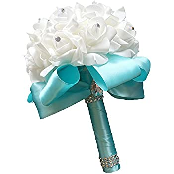 StillCool Wedding Bouquets Crystal Pearl Silk Roses Bridal Bridesmaid Wedding Hand Bouquet Artificial Fake Flowers (18cm24cm, Mint-green)