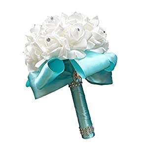 StillCool Wedding Bouquets Crystal Pearl Silk Roses Bridal Bridesmaid Wedding Hand Bouquet Artificial Fake Flowers (18cm24cm, Mint-Green) 31