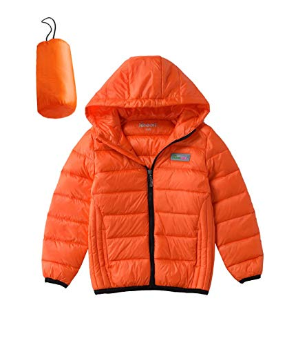 Hiheart Boys Girls Lightweight Hooded Down Jacket Winter Down Coat Orange 5/6
