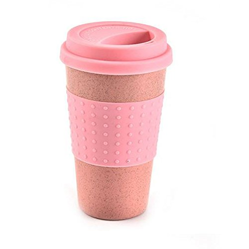 Wheat Water Cup With Straw Cola Coffee Cups Wheat Straw Plastic Healthy Drink Bottle Multi-Functional With Silica Gel Lid(Pink) -  YOTHG, 15317447106057