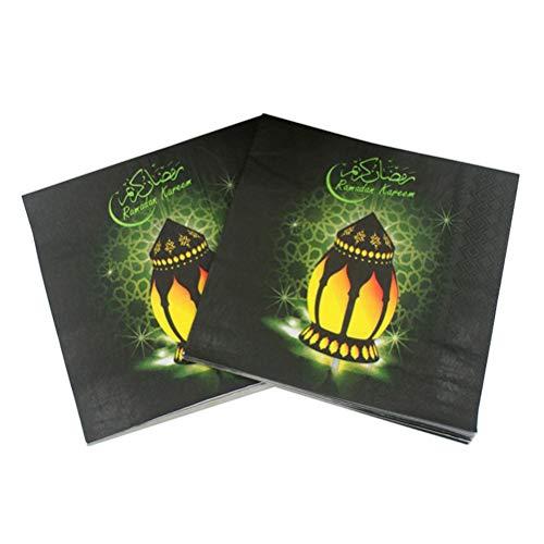 50 Sheets/2 Packs Ramadan Kareem Colorful Print Napkins Arabian Style Tissue Disposable Serviettes Paper Towel for Party Festival