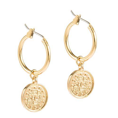 Trendy Vintage Zinc Alloy Coin Portrait Pendant Hoop Earrings Gold Ethnic For Women Women Charm Earring Jewelry Gift 2019 NEW