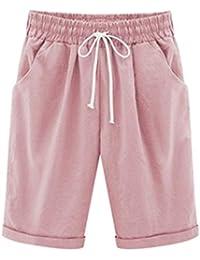 8a511771d54 Women Plus Size Linen Short Pants Casual CottonElastic Waist Summer Slim  Pants