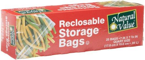 Natural Value Quart Reclosable Food Storage Bags -- 25 Bags (Quart Box)