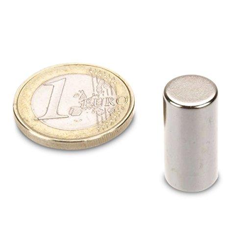 Neodym Supermagnet Powermagnet Haftmagnet Stabmagnet /Ø 10,0 x 20,0 mm N45 Nickel Zylindermagnet h/ält 4,5 kg Magnetstab