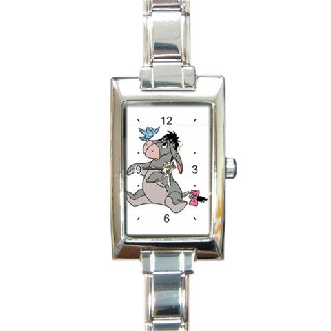 Custom 9mm New Charm (Eeyore Rectangular Italian Charm Watch with Stainless Steel 16 Link Wrist Strap Pooh Bear Winnie the Pooh)
