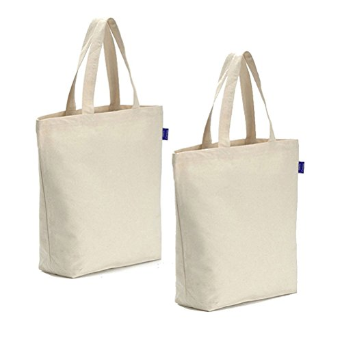 (Canvas Tote Bag Reusable Canvas Grocery Bags Washable 100% Natural Cotton Eco-Friendly Durable Shoulder Shopping Bag (Natural, set of 2 pcs))