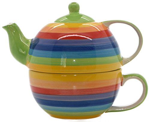 Windhorse Rainbow Striped Ceramic Tea for One Set by Windhorse