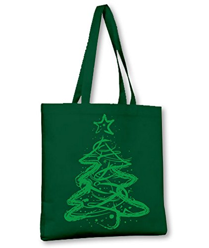 CHRISTMAS TREE GREEN TOTE Bottle PRINTED DISTRESSED SHOULDER BAG Green gTWOw1qa1