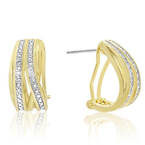 Elegant Diamond Half Hoop Earrings, Yellow Gold Tone, 3/4 Inch ()