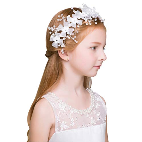 Cute Princess Wedding Headpiece White Flower Headband Pearl