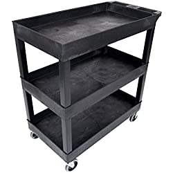 "Luxor 32""W x 18""D Mobile 3 Shelf Utility Storage Tub Cart - Black"