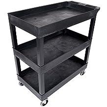 "Luxor Mobile 32"" x 18"" Home Office Multipurpose Heavy Duty Service Utiltiy 3 Shelf Tub Storage Cart - Black"