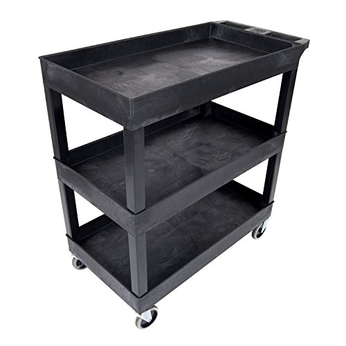 "Luxor 32""W x 18""D Mobile 3 Shelf Utility Storage Tub Cart - Black from Luxor"