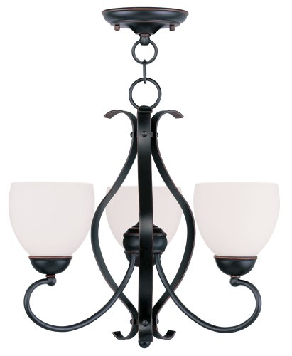 - Livex Lighting 4763-67 Brookside 3-Light Convertible Hanging Lantern/Ceiling Mount, Olde Bronze