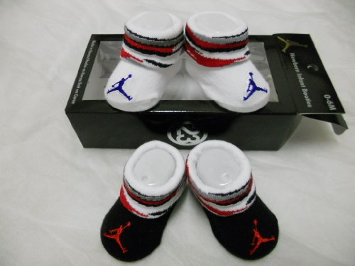 Nike Jordan Booties Girl Boy Baby Infant 0-6 Months with Jumpman Sign White/red and Black/red 2 Pairs One Set New