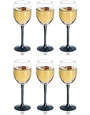 SOLAVIA Klart glas vinglas 330 ml förpackning med 6 svart lyxig lång stam 20 cm hög