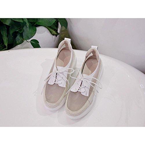 Verano WSXY Sandalias Zapatos con Malla KJJDE A3411 White Casuales Plataforma Transpirables Creativo Zapatos Hembra de Mujeres de AvxqAw4F