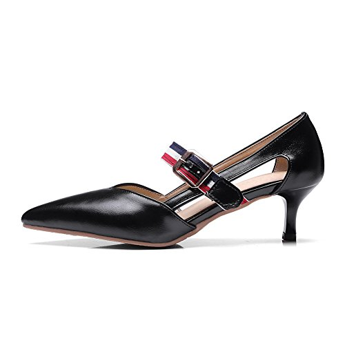 AdeeSu Ladies Pointed-Toe Buckle Cone-Shape Heel Urethane Sandals Black 7RI51