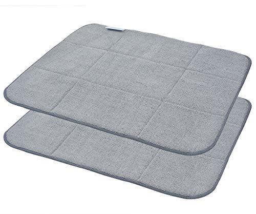 Microfiber Dish Drying Mat Super Absorbent Dish Drying Rack Pads Kitchen Counter Mat 16X18Inch Dark Grey 2 Pack