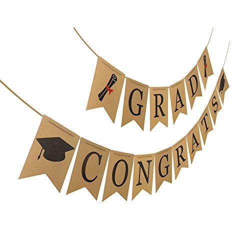 Congrats Grad Banner, Classy Graduation Decorations for Graduations Party Supplies 2018, Kraft Paper Bunting Graduation Banner Sign for Graduation Decoration VAG048